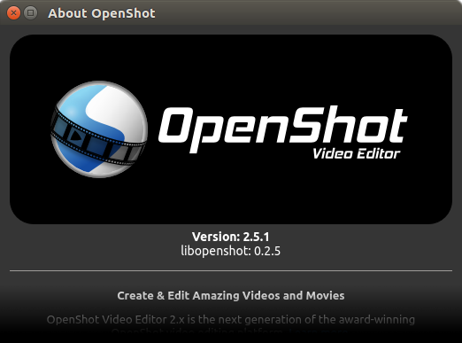 OpenShot 2.5.1 About Screen